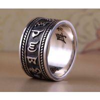 不锈钢六字真言转运戒指钛钢佛教用品扳指饰品开发加工生产定制厂