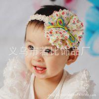 厂家直销绒线点点纱花宝宝婴儿发带批发 儿童发饰头饰混批货源