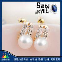 韩版耳环 女士 珍珠耳环 奥地利水钻耳环 925银耳环