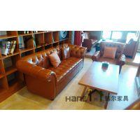 供应上海生野咖啡厅皮制沙发 美式皮艺多人沙发定制 上海韩尔家具厂精品