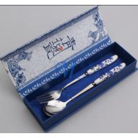 揭阳名瑞爆款青花瓷餐具 不锈钢勺叉筷2件套批发 高档婚庆回礼乔迁礼品