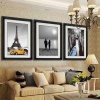 现代简约黑白摄影装饰画 客厅三联***有框画 餐厅卧室墙壁挂画