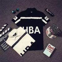 潮货基地 夏季款衬衫潮牌HBA字母图案印花短袖男士休闲衬衫