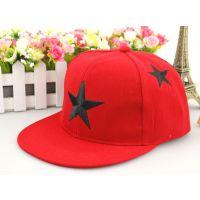 青岛韩版新潮男女宝宝刺绣五角星平沿嘻哈儿童棒球帽子订做