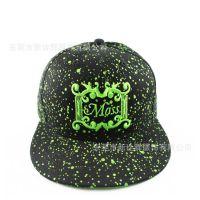 嘻哈帽欧美纯色斑点平板鸭舌帽时尚荧光休闲大头尺寸帽厂家定制做