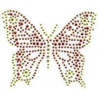 广州烫画厂供应蝴蝶图案 服装箱包玻璃珠 植绒烫画等