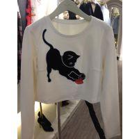 2015春季新款可爱猫咪刺绣长袖T恤休闲百搭圆领上衣2151022450
