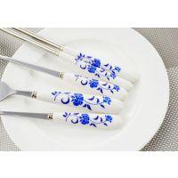 青花瓷四件套装 便携式餐具套装 刀叉、勺、筷套装 无锡礼品定制