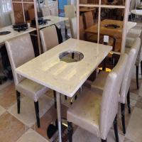 专业设计 酒店火锅桌椅 米白色火锅桌椅 标准4人位酒店火锅桌椅促销