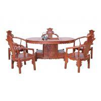 明清古典红木茶桌 非洲花梨腰型茶台 缅甸花梨红木家具茶桌红木价格图片