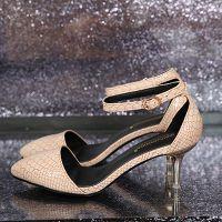 2015韩版新款女鞋 高端细蛇皮纹尖头高跟鞋 时尚舒适防滑细跟单鞋