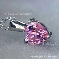 时尚925纯银镀铂金项链项坠 镶嵌心型单碳原子粉钻吊坠 正东珠宝