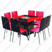 厂价热卖 中式钢化玻璃火锅桌 酒店方形火锅桌椅 6人位餐厅火锅桌