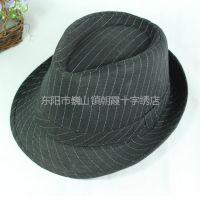 供应新款牛仔条纹爵士帽 酒会晚会帽子 礼服帽子 配西装帽子 高档礼帽