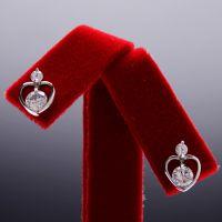 高档饰品批发  简约时尚精致八心八箭心型锆石耳环 耳钉 2014125