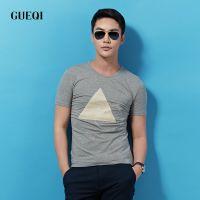 GUEQI男装 简约时尚 T恤批发 立体几何图案 圆领修身短袖T恤