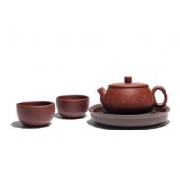 紫砂杯壶三件套装 宜兴手工紫砂壶 免费设计打样 无锡商务礼品套装定制