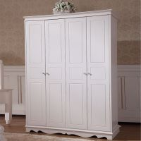 卧室家具复合衣柜柜子白色四门衣柜特价简易四门衣柜定制