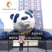 上海升美玻璃钢雕塑厂成都菱形爬墙熊猫模型大型美陈摆件定制