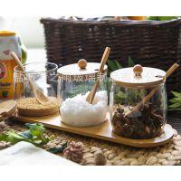 梦之雨 调味瓶 玻璃调味罐组合 竹木元素调料罐 厨房套装竹制工艺品 厂家直销