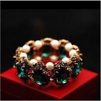 韩国复古款祖母绿宝石 镶嵌珍珠手镯 手链