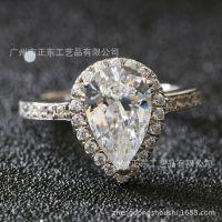 时尚韩版饰品 925纯银镶嵌仿真钻戒女款 求婚结婚戒指 首饰加工