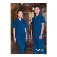 海源|夏装短袖水洗牛仔服劳保服装男女全棉上班穿工作服套装NZ097