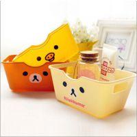 C451 版卡通轻松熊塑料 迷你塑料 卡通动物 长方形收纳盒