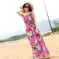 新款夏季雪纺连衣裙 欧美***印花沙滩裙 波西米亚吊带长裙 女