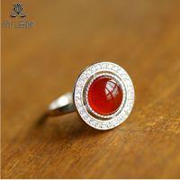 晶尚尊  优质天然水晶巴西进口 玫红色碧玺戒指 纯银镶嵌
