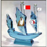 供应阿联酋定做水晶一帆风顺模型摆件 企业办公摆件礼品水晶帆船模型厂家定做