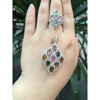 925银精镶天然碧玺女款戒指 项链  两色可选  招代理一件代发