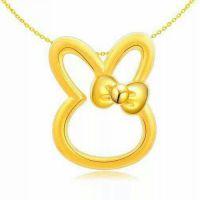 钻之恒 3D硬金 999千足金黄金吊坠 12生肖 兔子金约1.7 福星宝宝