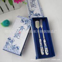 厂家直销青花瓷系列l两件套 环保餐具套装 广告促销礼品餐具