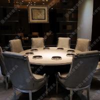 热卖 酒店圆形大理石火锅桌 一人一锅多人位石英石火锅桌 可定做