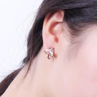 天使黛儿韩版三角形锆石耳夹 镂空耳饰 无耳洞防过敏耳扣