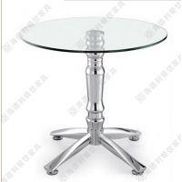 欧式古典圆形玻璃西餐桌 不锈钢桌脚圆形钢化玻璃西餐桌 厂家设计定做