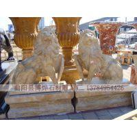 厂家专业加工精品动物石雕欧式狮子石雕蹲狮一对