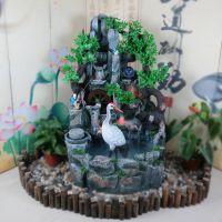 大型树脂落地假山流水鱼缸盆景喷泉风水轮家居摆件招财工艺品摆设