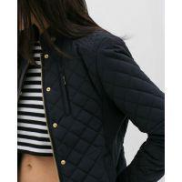 2014秋冬新款 欧美风撞色细节绗缝夹克短款外套上衣0518/252