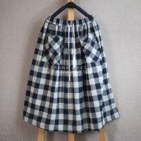 (ck20-15040824)2015年春季新款棉麻文艺森林系格子黑白半身裙