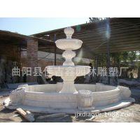 大理石双层狮子头流水喷泉 天然石材欧式园林水景 石雕喷泉定制