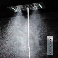 恒美外贸出口奢华LED花洒天幕式多功能顶喷入墙式恒温暗装淋浴套装