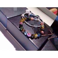 巴西进口天然碧玺 925纯银珠 精镶紫荆花女款手链 招代理一件代发