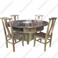 专业定做 古典仿旧实木电磁炉火锅桌 农家乐多人位火锅桌餐桌 沙发定做