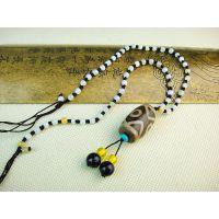 西藏至尊朱砂天珠 满砂至纯特殊九眼天珠 玉石项链鉴定证书0148号