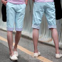 10015-2015夏日新款 条纹翻边裤子 男士中裤代理加盟 休闲短裤