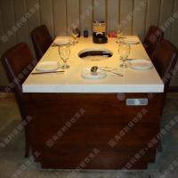 精品热卖 无烟火锅桌价格 优质人造石火锅桌 多人位餐厅火锅餐台
