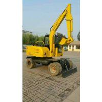 二手沃尔华60轮式挖掘机 二手轮挖60价格轮胎小挖机新疆市场