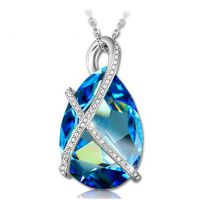 蓝色海洋之心水晶项链 女 毛衣链长款时尚 百搭韩版挂件首饰品